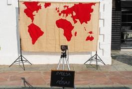 Boda viajes photocall mapa mundo vintage