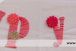 detalle de decoración de letras hechas a mano para boda