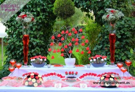 candy bar roja y negra romántica
