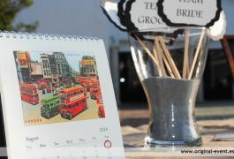Boda viajes mesa photocall calendario